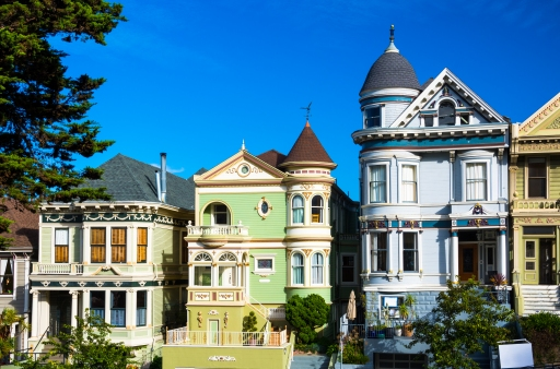 Three Victorian Houses in Alamo Square, San Francisco